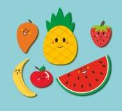 Gulliga frukter med den lyckliga framsidan stock illustrationer