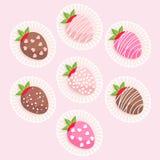 Gulliga glasade jordgubbar Royaltyfri Foto