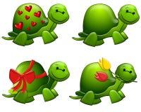 gulliga gröna sköldpaddor för konsttecknad filmgem Arkivbild