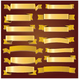 Gulliga guld- band och baner Royaltyfri Bild