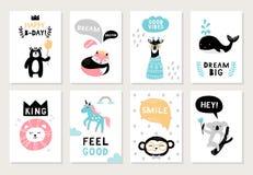 Gulliga hand-drog djur på vykort: björn, räv, giraff, skyddsremsa, lejon, enhörning, apa och koala vektor illustrationer
