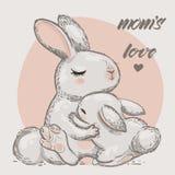 Gulliga hare - mamma och unge royaltyfri illustrationer