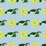 Gulliga havdjur på en mörk bakgrund Barnslig vektorillustration av sköldpaddan, stjärnaskalet och korall Fotografering för Bildbyråer