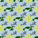 Gulliga havdjur på en mörk bakgrund Barnslig vektorillustration av sköldpaddan, stjärnaskalet och korall Royaltyfria Foton