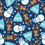 Gulliga hjortar, snögubbe och träd på mörker - blå bakgrundstecknad film, sömlös modell för Xmas, vykort och tapet stock illustrationer