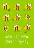 Gulliga honungbin på gräsplan royaltyfri illustrationer