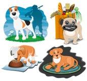 gulliga hundar vektor illustrationer