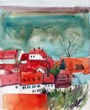 Gulliga hus med rött takvattenfärgkonstverk Royaltyfria Bilder