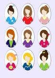 Gulliga illustrationer av härliga unga flickor med olik hårstil stock illustrationer