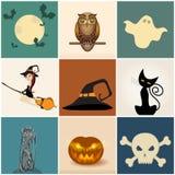 gulliga inställda halloween illustrationer Arkivfoto
