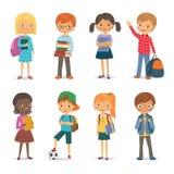 Gulliga internationella elever med böcker och ryggsäckar vektor illustrationer