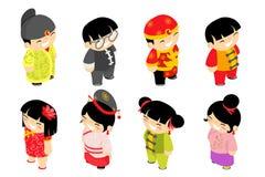 Gulliga isometriska kinesiska symboler för ferie för parti för beröm för nytt år för barntecken ställde in den plana designvektor stock illustrationer