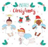 Gulliga julänglar royaltyfri illustrationer