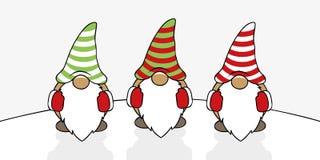 Gulliga julgnomer för träd med randiga hattar vektor illustrationer