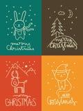 Gulliga julhälsningkort Arkivbild
