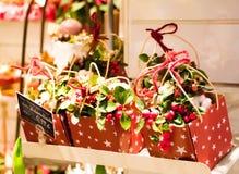Gulliga julklappar i en blomsterhandlare shoppar Askar med garnering, framlägger och blommor som säljs för jul arkivbilder