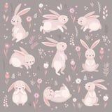 Gulliga kaniner som sover, runnung som sitter ?lskv?rt royaltyfri illustrationer