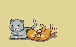 Gulliga katter för vektor två Fotografering för Bildbyråer