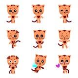 gulliga katter Katt i kawaiistil vektor för set för tecknad filmhjärtor polar royaltyfri illustrationer