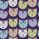 gulliga katter sömlös modell för vektor med tecknad filmkattframsidor tygprintingklistermärkear moderiktig bakgrund teckningen ha stock illustrationer