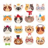 Gulliga katthuvud Katten tystar ned, för hatten, för halsduken och färgför partiet för inhemsk pottframsida den bärande uppsättni royaltyfri illustrationer