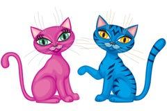 gulliga kattungar för par stock illustrationer
