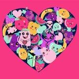 Gulliga Kawaii frukt- och grönsaksymboler i hjärta formar stock illustrationer