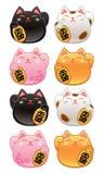 Gulliga Kawaii Maneki Neko Lucky Cats Arkivbilder