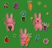 Gulliga klistermärkear med kaniner Arkivbilder