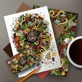 Gulliga klottrar den drog vektorhanden för tecknade filmen uppsättningen för den företags identiteten för kaffe Royaltyfria Foton