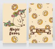 Gulliga kort för bageri med den tecknad filmdonuts och enhörningen Royaltyfri Fotografi