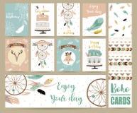 Gulliga kort för baner, reklamblad, plakat med fjädern, räv, kaka Arkivbilder