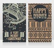 Gulliga kort för jul med klockor Royaltyfri Fotografi