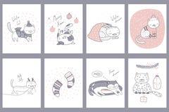 Gulliga kort för julkatthälsning stock illustrationer