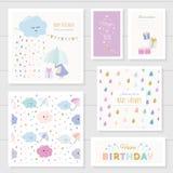 Gulliga kort med guld blänker beståndsdelar för flickor För baby shower behandla som ett barn födelsedagen, kläder, anteckningsbo vektor illustrationer