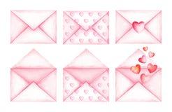 Gulliga kuvert för förälskelsemeddelanderosa färger för flygillustration för näbb dekorativ bild dess paper stycksvalavattenfärg Arkivbilder