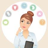 Gulliga kvinnaförsök att organisera hennes arbetstid royaltyfri illustrationer