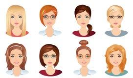 Gulliga kvinnor med olika frisyrer stock illustrationer