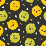 Gulliga le citron- och limefruktfrukter, sömlös modell för vektor på mörk bakgrund stock illustrationer