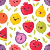 Gulliga le frukter, sömlös modell för vektor på vit bakgrund vektor illustrationer