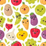 Gulliga le grönsaker, sömlös modell för vektor på vit bakgrund stock illustrationer