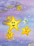 Gulliga le stjärnor över natthimlen Vattenfärgkonst stock illustrationer