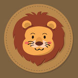 Gulliga Lion Head Cartoon Vector Royaltyfri Fotografi