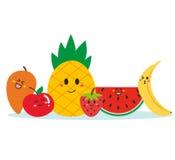 Gulliga lyckliga frukter som tillsammans står royaltyfri illustrationer