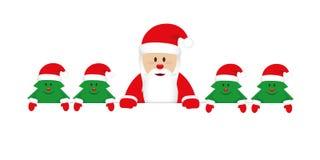 Gulliga lyckliga Santa Claus med små julträd royaltyfri illustrationer