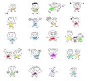 Gulliga lyckliga tecknad filmungar Arkivbilder