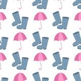 Gulliga mång- kulöra paraplygummistöveler i plan designstil och åtföljande begrepp för höst danar teckenvektorn Royaltyfri Fotografi