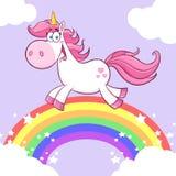 Gulliga magiska Unicorn Cartoon Mascot Character Running royaltyfri illustrationer