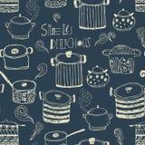Gulliga matlagningkrukor och bokstäver seamless modell Royaltyfria Foton