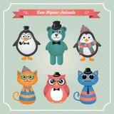 Gulliga modeHipsterdjur & husdjur royaltyfri illustrationer